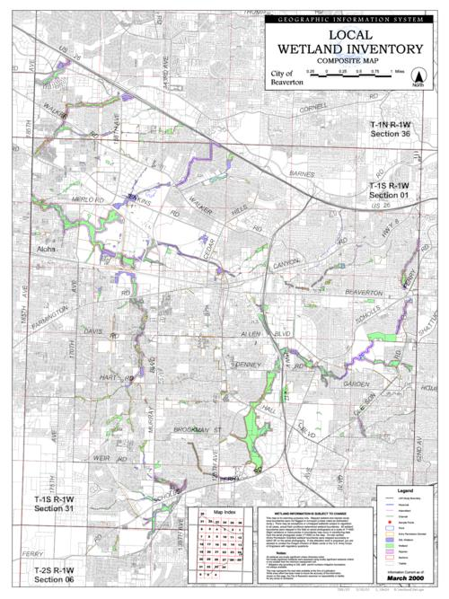 Local wetland inventory composite map City of Beaverton Oregon
