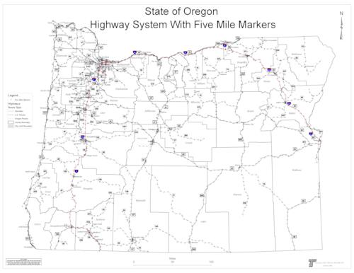 State of Oregon highway system with five mile markers Oregon State