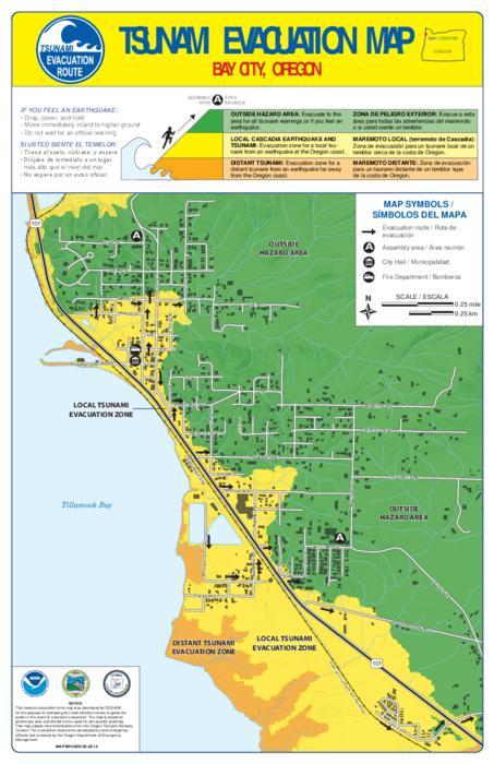 Tsunami evacuation map Oregon State Library
