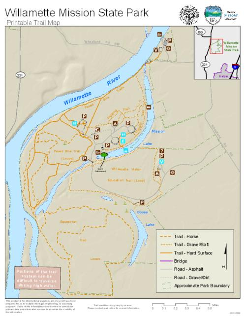Willamette Mission State Park printable trail map Oregon State Library