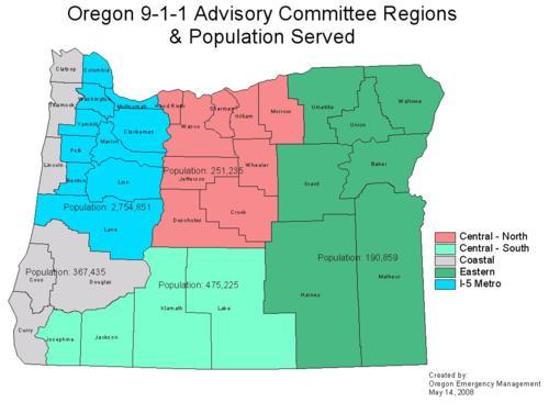 Oregon 911 Advisory Committee regions population served Oregon