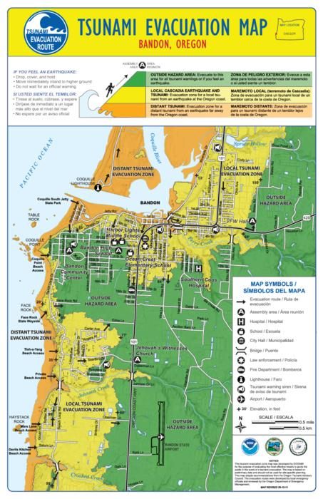 Tsunami evacuation map Tsunami evacuation map Oregon State Library