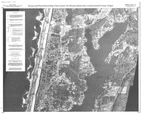 Erosion and flood hazard map of the Lincoln CityWecoma Beach area
