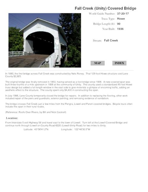 Guide to Oregon covered bridges Unity description Oregon State