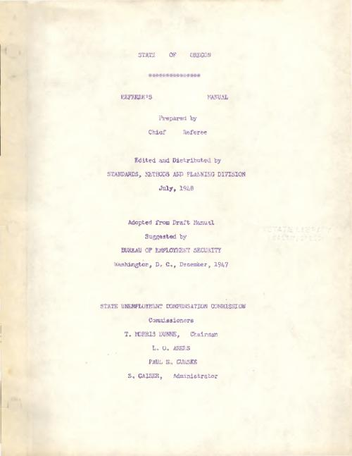 """Adopted from draft manual suggested by Bureau of Employment Security, Washington, D.C., December 1947""--Cover., Includes corrections., Title from PDF cover (viewed on October 26, 2017)., This archived document is maintained by the State Library of Oregon as part of the Oregon Documents Depository Program. It is for informational purposes and may not be suitable for legal purposes., Mode of access: Internet from the Oregon Government Publications Collection., Text in English."