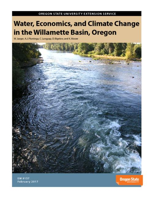 "Climate change, population growth, and income growth have the potential to significantly affect the availability and use of water in the Willamette River Basin (WRB). The Willamette Water 2100 project (WW2100) was motivated in response to the need for individuals, communities, and governments across the WRB to better understand how the supply and demand for water will evolve and vary across space and time in coming decades. The WW2100 model allows us to project into the future the ways that changes in climate, population, and income from 2010 to 2100 will alter the supply, demand, allocation, and scarcity of water. This report describes results from the WW2100 model with a focus on its economic dimensions, that is, the impacts on people who live in the WRB., ""February 2017."", Includes bibliographical references (pages 104-105)., Mode of access: Internet from the Oregon Government Publications Collection."