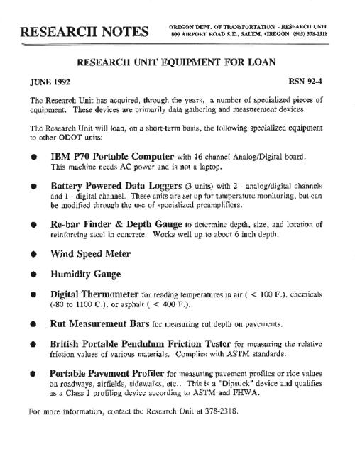 "This archived document is maintained by the Oregon State Library as part of the Oregon Documents Depository Program.  It is for informational purposes and may not be suitable for legal purposes., Title from PDF caption (viewed on July 20, 2011), ""June 1992."", Mode of access: Internet from the Oregon Government Publications Collection."