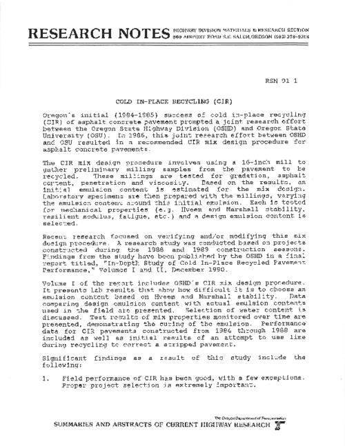 "This archived document is maintained by the Oregon State Library as part of the Oregon Documents Depository Program.  It is for informational purposes and may not be suitable for legal purposes., Title from PDF caption (viewed on June 3, 2011), ""RSN 91-1."", Mode of access: Internet from the Oregon Government Publications Collection."