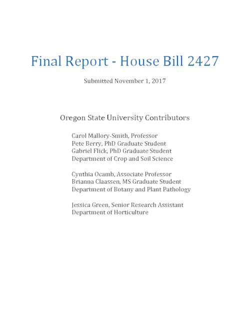 "Title from PDF cover (viewed on November 15, 2017)., ""In 2013, House Bill 2427 provided funding to assess the potential for co-existence between canola and other Brassicaceae seed crops in the Willamette Valley""--Page 1., This archived document is maintained by the State Library of Oregon as part of the Oregon Documents Depository Program. It is for informational purposes and may not be suitable for legal purposes., Includes bibliographical references (pages 76-81)., Mode of access: Internet from the Oregon Government Publications Collection., Text in English."