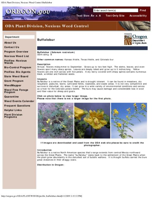 "This archived document is maintained by the Oregon State Library as part of the Oregon Documents Depository Program.  It is for informational purposes and may not be suitable for legal purposes., Title from PDF caption (viewed on Aug. 17, 2010), Part of the series Oregon state noxious weed list, ""October 17, 2007."", Converted from HTML, Mode of access: Internet from the Oregon Government Publications Collection."