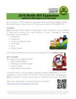 2018 Bottle Bill expansion: additional beverages to be included, Oregon Bottle...