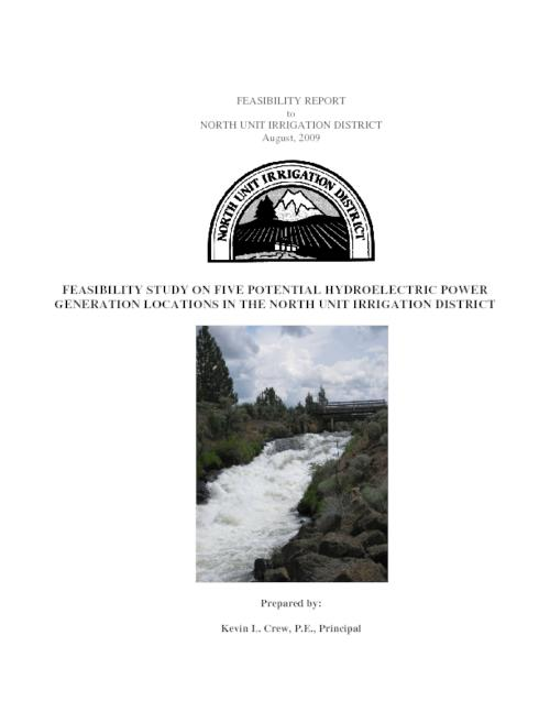 "The intent of this feasibility report is to evaluate and present the technical, financial, and permitting feasibility of five potential hydroelectric power generation sites in the North Unit Irrigation District, Madras, Oregon., ""August, 2009."", This archived document is maintained by the State Library of Oregon as part of the Oregon Documents Depository Program. It is for informational purposes and may not be suitable for legal purposes., Funding for the study is from North Unit Irrigation District funds and grant funds from the Oregon Department of Energy, Mode of access: Internet from the Oregon Government Publications Collection., Text in English."