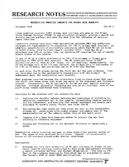"This archived document is maintained by the Oregon State Library as part of the Oregon Documents Depository Program.  It is for informational purposes and may not be suitable for legal purposes., Title from PDF caption (viewed on June 6, 2011), ""November 1990."", Mode of access: Internet from the Oregon Government Publications Collection."