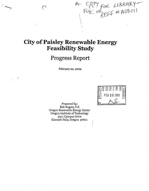 "Paisley School was analyzed for fuel saving alternatives that could significantly reduce the energy costs of the oil heating bill for the school of $45,000 for last year. This analysis included (1) the evaluation, through clean-out drilling, of the existing Paisley geothermal well; (2) evaluating significant energy efficiency; and (3) conversion of the existing heating system to geothermal heat pumps., ""February 20, 2009."", This archived document is maintained by the State Library of Oregon as part of the Oregon Documents Depository Program. It is for informational purposes and may not be suitable for legal purposes., Mode of access: Internet from the Oregon Government Publications Collection., Text in English."