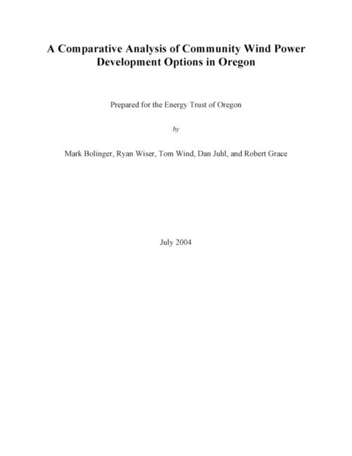 "The analysis in this report is based on a pro forma yearly cash flow model developed to analyze and compare the financial attractiveness (using each project's revenue requirement as the primary metric) of various community wind ownership structures that have been either contemplated or implemented in the US., ""July 2004."", This archived document is maintained by the State Library of Oregon as part of the Oregon Documents Depository Program. It is for informational purposes and may not be suitable for legal purposes., Includes bibliographical references (pages 94-96)., Mode of access: Internet from the Oregon Government Publications Collection., Text in English."