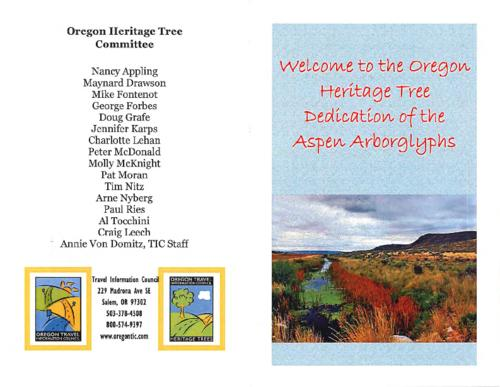 Title from PDF cover (viewed on January 18, 2018)., Program for the dedication ceremony of the aspen arborglyph trees., This archived document is maintained by the State Library of Oregon as part of the Oregon Documents Depository Program. It is for informational purposes and may not be suitable for legal purposes., Mode of access: Internet from the Oregon Government Publications Collection., Text in English.