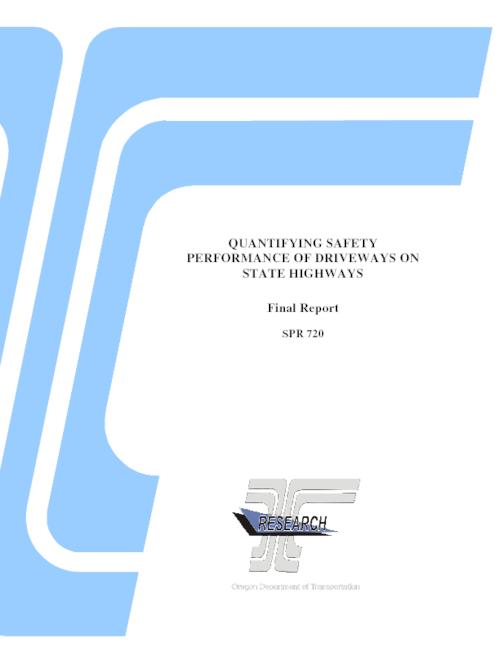 "This report documents a research effort to quantify the safety performance of driveways in the State of Oregon. In particular, this research effort focuses on driveways located adjacent to principal arterial state highways with urban or rural designations. This report includes safety performance functions (SPFs) that can be used to evaluate the safety impacts of various access management and driveway-related configurations on Oregon arterial corridors. The project team developed these safety metrics using statistical models and methodologies similar to those outlined in the Highway Safety Manual (HSM) published in 2010 by the American Association of State Highway and Transportation Officials (AASHTO). Instead of using a base condition SPF that included only segment length and traffic volume and then would need companion CMFs to fully analyze a corridor, the project team developed full model SPFs that do not require any additional adjustments. The resulting models varied for urban versus rural conditions, but type of land use and traffic volume were two consistently significant variables observed for both models. A companion smart spreadsheet accompanies this report to assist readers with implementation of the procedure., Title from PDF title page., ""August 2012."", ""FHWA-OR-RD-13-02""--Technical report documentation page., This archived document is maintained by the State Library of Oregon as part of the Oregon Documents Depository Program. It is for informational purposes and may not be suitable for legal purposes., Includes bibliographical references (pages 61-63)., Also available online at the Oregon Documents Repository., Sponsored by Oregon Dept. of Transportation, Research Section; Federal Highway Administration SPR 720, System requirements: Adobe Acrobat Reader; CD-ROM drive., Final report."