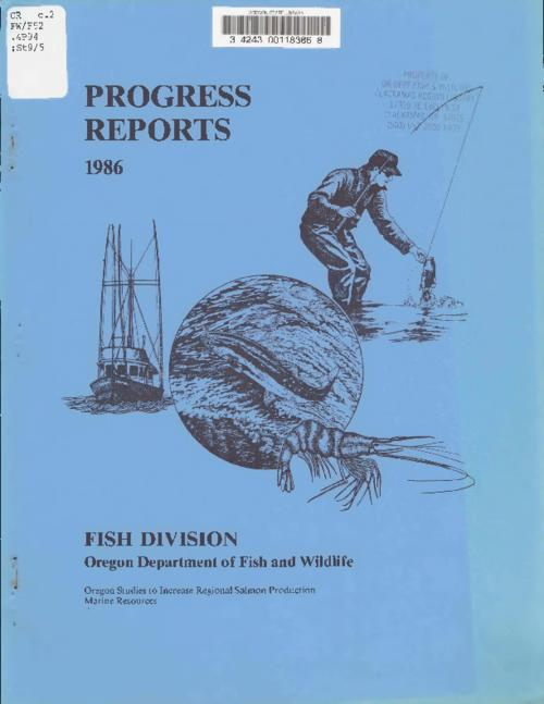"At head of title: Annual progress report, marine resources, Oregon., ""Project number: AFS-126, job number: 4-1 and 4-2., ""Project period: 1 October 1985 to 30 September 1986."", ""This project was financed in part with Anadomous Fish Act (PL 89-304)--funds administered by the U.S. Fish and Wildlife Service., This archived document is maintained by the State Library of Oregon as part of the Oregon Documents Depository Program. It is for informational purposes and may not be suitable for legal purposes., Includes bibliographical references (leaf 15)., Also available online at the Oregon Documents Repository."
