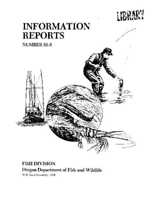This archived document is maintained by the State Library of Oregon as part of the Oregon Documents Depository Program. It is for informational purposes and may not be suitable for legal purposes., Includes bibliographical references (page 18)., Also available on the World Wide Web., Partially funded by the U.S. Fish and Wildlife Service through Dingell-Johnson funds. Project F-99-R-4.