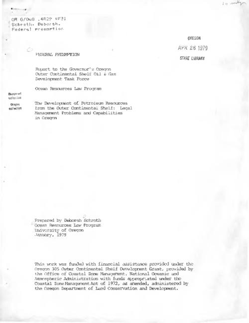 Title from PDF cover (viewed on February 5, 2018)., This archived document is maintained by the State Library of Oregon as part of the Oregon Documents Depository Program. It is for informational purposes and may not be suitable for legal purposes., Includes bibliographical references (pages 16-17)., Funding provided under the Oregon 305 Outer Continental Shelf Development Grant, provided by the Office of Coastal Zone Management, National Oceanic and Atmospheric Administration., Mode of access: Internet from the Oregon Government Publications Collection., Text in English.