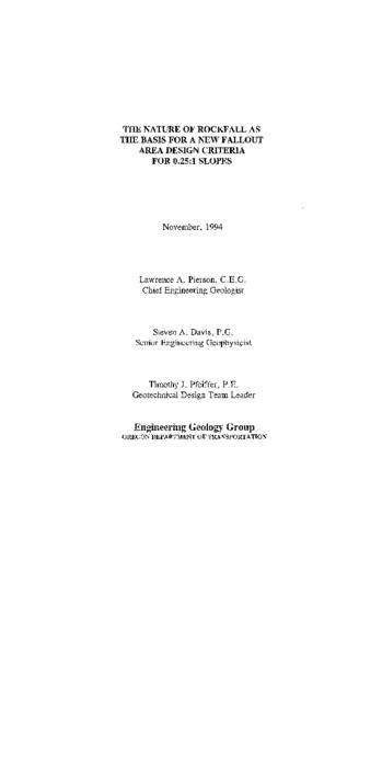 "This archived document is maintained by the Oregon State Library as part of the Oregon Documents Depository Program.  It is for informational purposes and may not be suitable for legal purposes., ""November, 1994."", ""Report date: September, 1994""--Technical report documentation page, Includes bibliographical references (p. 31), Performed by Oregon Dept. of Transportation, Geotechnical Services Unit in cooperation with the Federal Highway Administration under contract no. SPR 5287, Mode of access: Internet from the Oregon Government Publications Collection., Final research report. Oct. 1991-Sept. 1994"