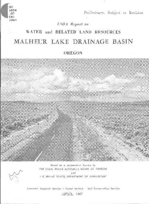 Based on a cooperative survey by the State Water Resources Board of Oregon and the U.S. Dept. of Agriculture., This archived document is maintained by the State Library of Oregon as part of the Oregon Documents Depository Program. It is for informational purposes and may not be suitable for legal purposes., Includes bibliographical references., Also available online.