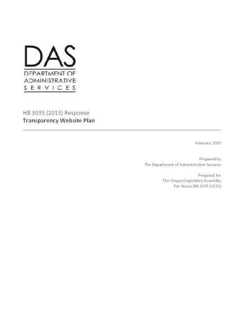 Title from PDF cover (viewed on February 25, 2015)., HB 3035 required DAS to develop a plan to add additional contracting information to the transparency website, including information for school districts and community colleges., This archived document is maintained by the State Library of Oregon as part of the Oregon Documents Depository Program. It is for informational purposes and may not be suitable for legal purposes., Mode of access: Internet from the Oregon Documents Repository., Text in English.
