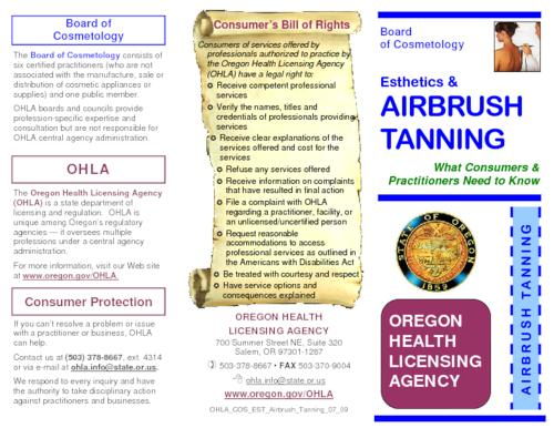 "Title from PDF caption (viewed on May 8, 2015)., ""OHLA_COS_EST_Airbrush_Tanning_07_09."", This archived document is maintained by the State Library of Oregon as part of the Oregon Documents Depository Program. It is for informational purposes and may not be suitable for legal purposes., Mode of access: Internet from the Oregon Documents Repository., Text in English."