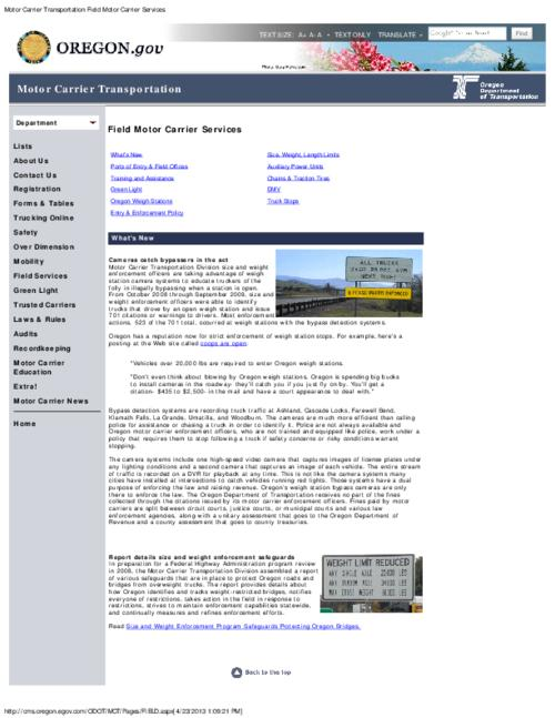 This archived document is maintained by the Oregon State Library as part of the Oregon Documents Depository Program.  It is for informational purposes and may not be suitable for legal purposes., Title from PDF caption (viewed on Apr. 26, 2013), Converted from HTML, Mode of access: Internet from the Oregon Government Publications Collection.