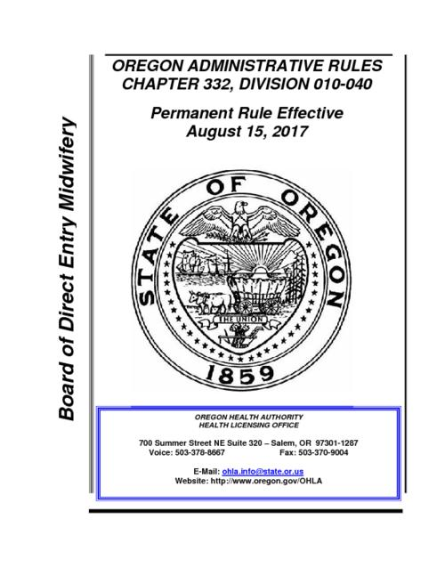 "Title from PDF cover (viewed on March 5, 2018)., ""Permanent Rule Effective August 15, 2017."", This archived document is maintained by the State Library of Oregon as part of the Oregon Documents Depository Program. It is for informational purposes and may not be suitable for legal purposes., Mode of access: Internet from the Oregon Government Publications Collection., Text in English."