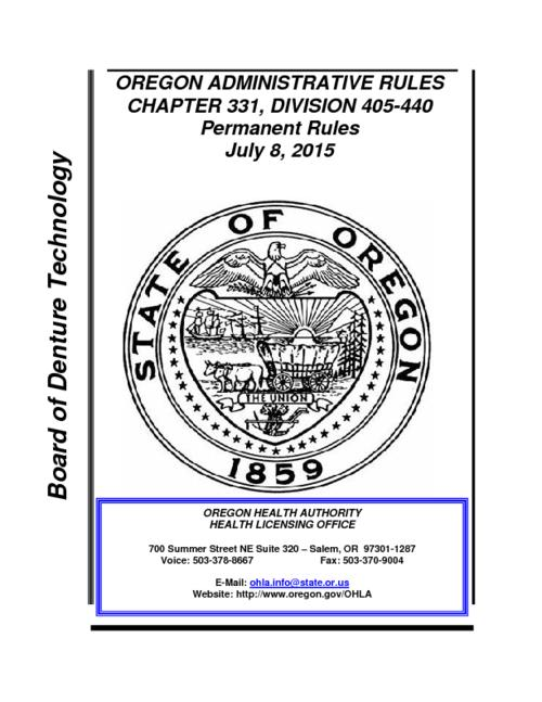 "Title from PDF cover (viewed on March 5, 2018)., ""Permanent Rules July 8, 2015."", This archived document is maintained by the State Library of Oregon as part of the Oregon Documents Depository Program. It is for informational purposes and may not be suitable for legal purposes., Mode of access: Internet from the Oregon Government Publications Collection., Text in English."