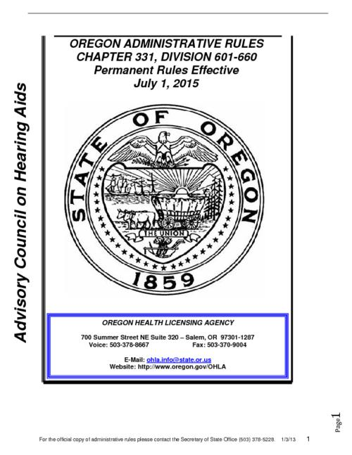 "Title from PDF cover (viewed on March 5, 2018)., ""Permanent Rules Effective July 1, 2015."", This archived document is maintained by the State Library of Oregon as part of the Oregon Documents Depository Program. It is for informational purposes and may not be suitable for legal purposes., Mode of access: Internet from the Oregon Government Publications Collection., Text in English."