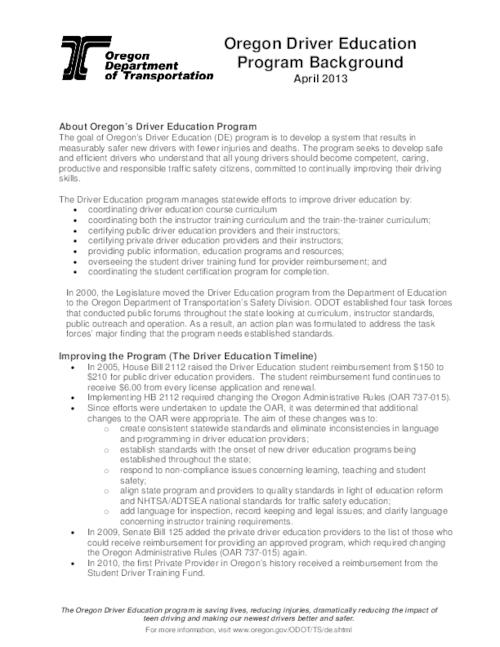 "This archived document is maintained by the Oregon State Library as part of the Oregon Documents Depository Program.  It is for informational purposes and may not be suitable for legal purposes., Title from PDF caption (viewed on July 12, 2013), ""April 2013."", Mode of access: Internet from the Oregon Government Publications Collection."