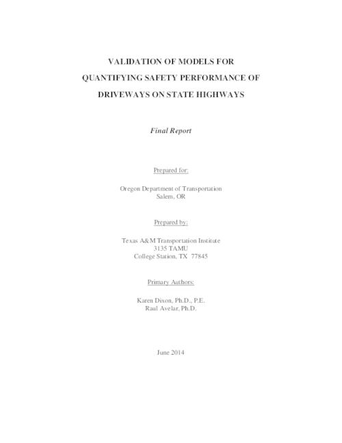 This final report documents the validation of urban and rural arterial safety performance functions (SPFs) developed for the Oregon Department of Transportation (ODOT) SPR 720 study titled Quantifying safety performance of driveways on state highways. For this previous effort, the research team determined that the crash reporting that indicated a driveway may have been involved in the crash was not a dependable variable, so they developed SPFs for all non-intersection-related crashes (of which many were likely due to vehicle interactions at driveway locations). Due to a limited sample size in the original study, the final report for SPR 720 recommended sampling of additional study sites and validation of the original study models based on these new randomly sampled locations. The information in this report reviews the subsequent validation effort and the resulting recommendations., Introduction -- Review of available data -- Data collection -- Validation analysis and results -- Conclusions and recommendations., This archived document is maintained by the Oregon State Library as part of the Oregon Documents Depository Program.  It is for informational purposes and may not be suitable for legal purposes., Title from PDF cover (viewed on March 28, 2016)., Includes bibliographical references (page 61)., Mode of access: Internet from the Oregon Government Publications Collection., Text in English.