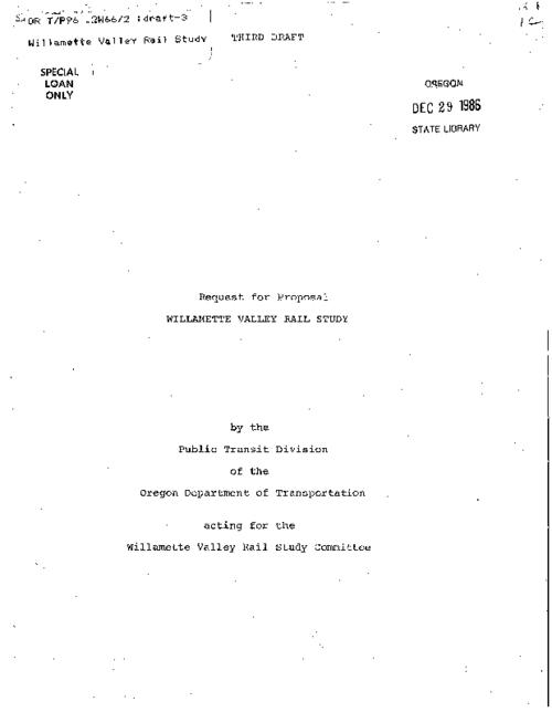 "This archived document is maintained by the Oregon State Library as part of the Oregon Documents Depository Program.  It is for informational purposes and may not be suitable for legal purposes., ""February 15, 1978""--P. 7, ""Third draft."", Title from cover, Mode of access: Internet from the Oregon Government Publications Collection."