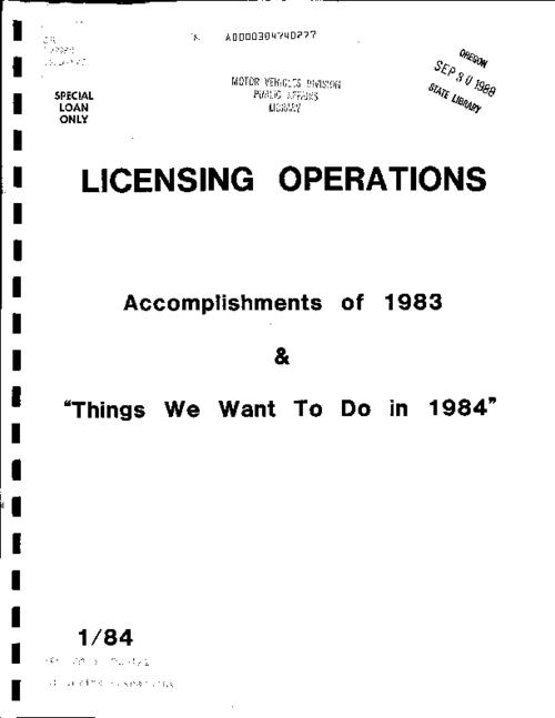 "This archived document is maintained by the Oregon State Library as part of the Oregon Documents Depository Program.  It is for informational purposes and may not be suitable for legal purposes., ""1/84""--Cover, Title from caption, Mode of access: Internet from the Oregon Government Publications Collection."