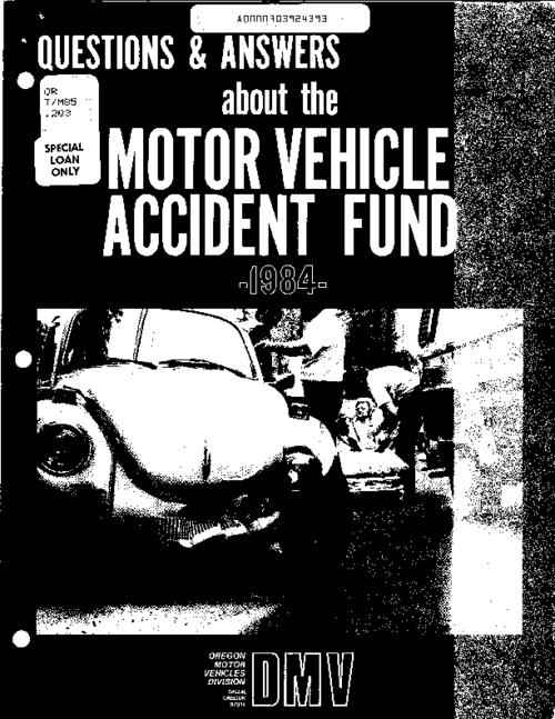 "This archived document is maintained by the Oregon State Library as part of the Oregon Documents Depository Program.  It is for informational purposes and may not be suitable for legal purposes., ""1/83""--Back cover, A fund for reimbursement of emergency care and medical services provided to indigent persons injured in motor vehicle accidents on public ways, streets or highways of Oregon, Title from cover, Mode of access: Internet from the Oregon Government Publications Collection."