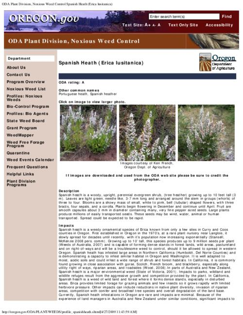 "This archived document is maintained by the Oregon State Library as part of the Oregon Documents Depository Program.  It is for informational purposes and may not be suitable for legal purposes., Title from PDF caption (viewed on Aug. 18, 2010), Part of the series Oregon state noxious weed list, Converted from HTML, ""March 04, 2009."", Mode of access: Internet from the Oregon Government Publications Collection."