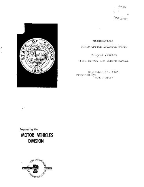 "This archived document is maintained by the Oregon State Library as part of the Oregon Documents Depository Program.  It is for informational purposes and may not be suitable for legal purposes., ""Project #M00169, final report and user's manual""--Cover, ""September 1985."", Mode of access: Internet from the Oregon Government Publications Collection."