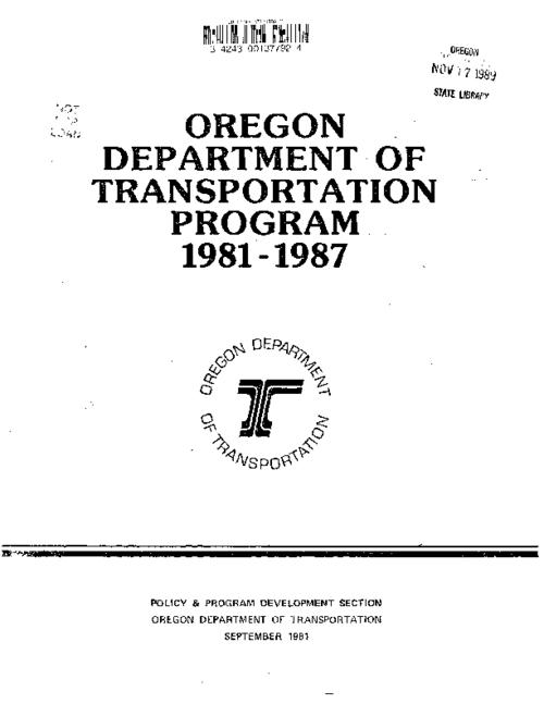 "This archived document is maintained by the Oregon State Library as part of the Oregon Documents Depository Program.  It is for informational purposes and may not be suitable for legal purposes., ""September 1981."", Mode of access: Internet from the Oregon Government Publications Collection."