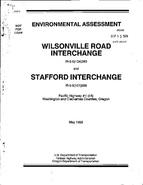 "This archived document is maintained by the Oregon State Library as part of the Oregon Documents Depository Program.  It is for informational purposes and may not be suitable for legal purposes., ""May 1992."", ""Submitted pursuant to 49 U.S.C. 4332 (2)(c)."", Mode of access: Internet from the Oregon Government Publications Collection."