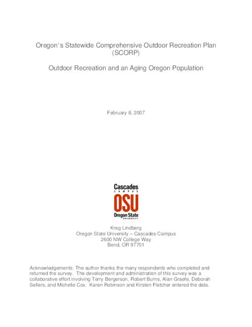 "This archived document is maintained by the Oregon State Library as part of the Oregon Documents Depository Program.  It is for informational purposes and may not be suitable for legal purposes., Title from PDF title page (viewed on May 14, 2007), ""February 8, 2007."", ""In preparation for the 2008-2012 Oregon State Comprehensive Outdoor Recreation Planning (SCORP) plan, the Oregon Parks and Recreation Department (OPRD) contracted Oregon State University (OSU) to conduct a survey of  'baby boomers' and 'pre boomers'.""--Executive summary, Mode of access: Internet from the Oregon Government Publications Collection."