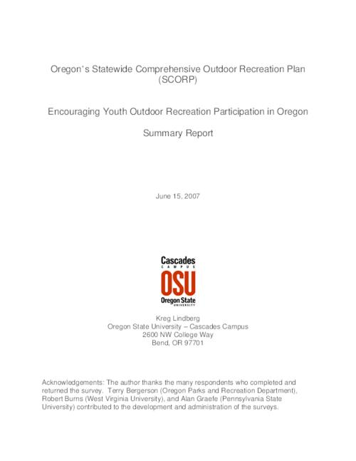"This archived document is maintained by the Oregon State Library as part of the Oregon Documents Depository Program.  It is for informational purposes and may not be suitable for legal purposes., Title from PDF title page (viewed on Jan. 18, 2008), ""In preparation for the 2008-2012 Oregon Statewide Comprehensive Outdoor Recreation Plan (SCORP), the Oregon Parks and Recreation Department (OPRD) contracted Oregon State University (OSU) to conduct a survey of Oregon youth and their parents.""-- p. [1], ""June 15, 2007."", Mode of access: Internet from the Oregon Government Publications Collection."