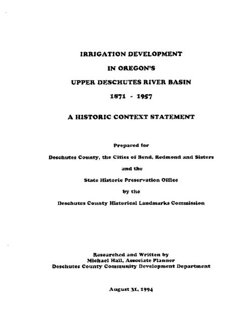 "This archived document is maintained by the Oregon State Library as part of the Oregon Documents Depository Program.  It is for informational purposes and may not be suitable for legal purposes., Title from PDF caption (viewed on Aug. 3, 2010), ""August 31, 1994."", Includes bibliographical references (p. 63-71), Mode of access: Internet from the Oregon Government Publications Collection."