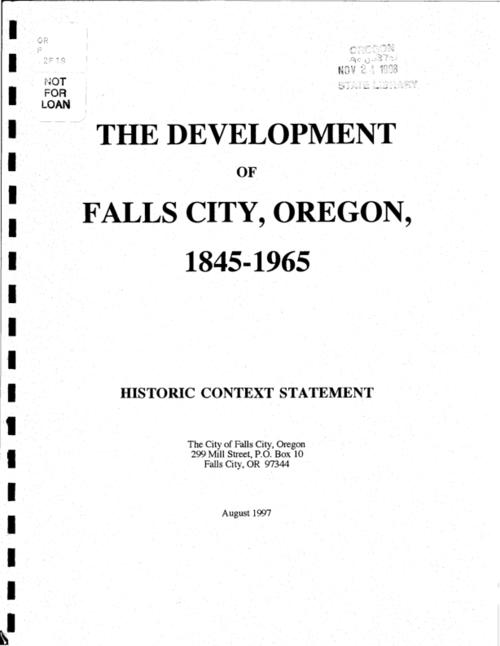 "This archived document is maintained by the Oregon State Library as part of the Oregon Documents Depository Program.  It is for informational purposes and may not be suitable for legal purposes., ""... financed in part with Federal funds from the National Park Service, a division of the U.S. Dept. of the Interior, and administered by the Oregon State Historic Preservation Office""--P. 1, ""August 1997."", Includes bibliographical references, Mode of access: Internet from the Oregon Government Publications Collection."