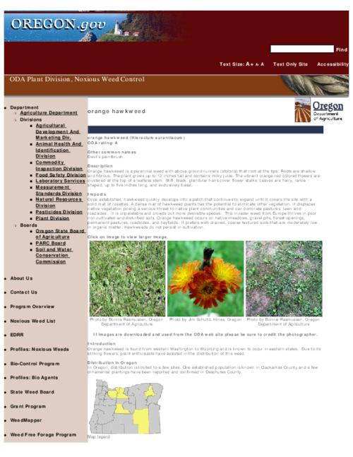 "This archived document is maintained by the Oregon State Library as part of the Oregon Documents Depository Program.  It is for informational purposes and may not be suitable for legal purposes., Title from PDF caption (viewed on Sept. 8, 2010), Part of the series Oregon state noxious weed list, Converted from HTML, ""October 14, 2009."", Mode of access: Internet from the Oregon Government Publications Collection."