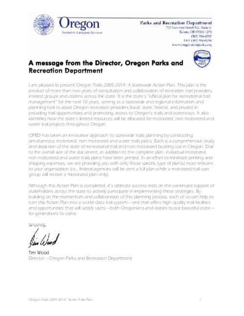 "This archived document is maintained by the Oregon State Library as part of the Oregon Documents Depository Program.  It is for informational purposes and may not be suitable for legal purposes., Title from PDF running footer (viewed on December 9, 2015)., ""It is the state's 'official plan for recreational trail management' for the next 10 years, serving as a statewide and regional information and planning tool to assist Oregon recreation providers (local, state, federal, and private) in providing trail opportunities and promoting access to Oregon's trails and waterways. It also identifies how the state's limited resources will be allocated for motorized, non-motorized and water trail projects throughout Oregon""--from letter of transmittal signed by Tim Wood, Director, Oregon Parks and Recreational Department., Includes bibliographical references., Mode of access: Internet from the Oregon Government Publications Collection., Text in English."