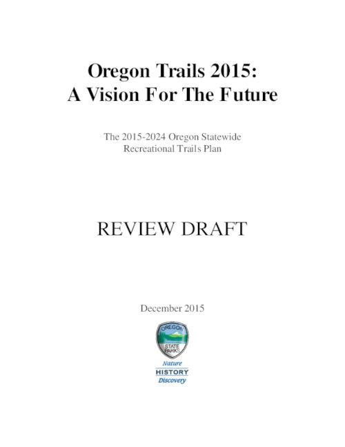 "This archived document is maintained by the Oregon State Library as part of the Oregon Documents Depository Program.  It is for informational purposes and may not be suitable for legal purposes., Title from PDF cover (viewed on December 11, 2015)., ""Oregon's ten-year plan for recreational trail management. The plan guides the use of the state's Recreational Trails Program (RTP) and All-Terrain Vehicle (ATV) grant funds, and provides information and recommendations to guide federal, state, and local units of government, as well as the private sector, in making policy and planning decisions""--Page iv., Includes bibliographical references., Mode of access: Internet from the Oregon Government Publications Collection., Text in English."