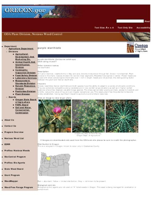"This archived document is maintained by the Oregon State Library as part of the Oregon Documents Depository Program.  It is for informational purposes and may not be suitable for legal purposes., Title from PDF caption (viewed on Sept. 8, 2010), Part of the series Oregon state noxious weed list, Converted from HTML, ""February 25, 2008."", Mode of access: Internet from the Oregon Government Publications Collection."