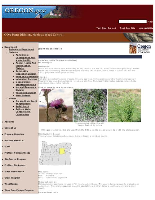 "This archived document is maintained by the Oregon State Library as part of the Oregon Documents Depository Program.  It is for informational purposes and may not be suitable for legal purposes., Title from PDF caption (viewed on Sept. 8, 2010), Part of the series Oregon state noxious weed list, Converted from HTML, ""February 12, 2008."", Mode of access: Internet from the Oregon Government Publications Collection."